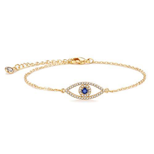 Mevecco Gold Evil Eye Bracelet,Dainty Cute Cubic Zirconia Blue Stone Protection Elegant Fatima Bracelet for Women ()
