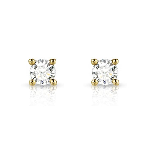 Tousmesbijoux Boucles d'oreilles puces Diamants et Or jaune 750/00