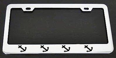 Ship Anchor Chrome Metal License Plate Frame Perfect for Men Women Car garadge Decor