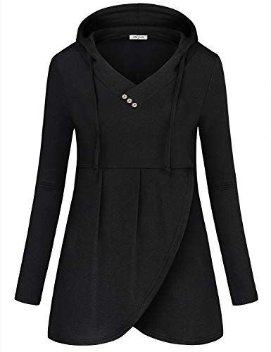 - SeSe Code Black Pullover Hoodies,Ladies Hooded Sweatshirts Long Sleeve V Neck Business Office Shirts for Work Stretchy Knit Asymmetric Hem Fashion Design Tunics for Legging Medium