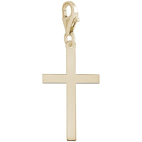 Gold Plated Cross Charm With Lobster Claw Clasp, Charms for Bracelets and Necklaces