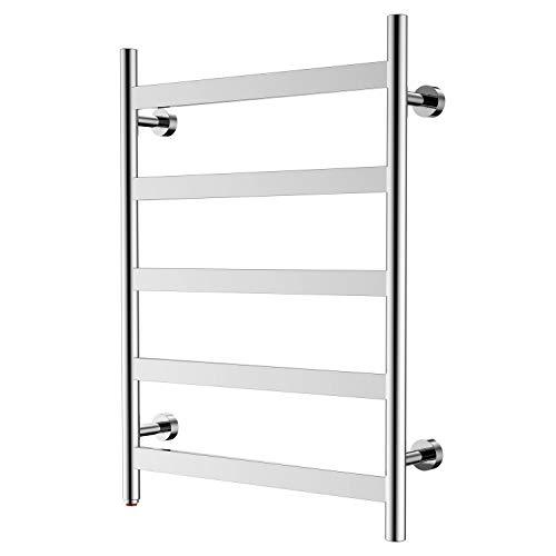HEATGENE Towel Warmer 5 Flat Bar Towel Dryer Wall-Mounted Plug-in Bath Towel -