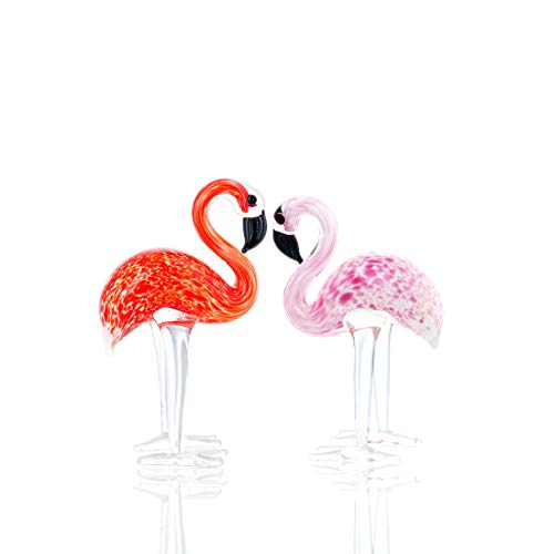 (Qf Handmade Glass Flamingos Love Token Art Glass Blown Animal Figurine,Pack of 2)