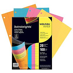 Wausau Astrobrights Wide Ruled Filler Paper Assortment, 100 Count, 8 X 10.5 Inches (25910) (Colored Rule)