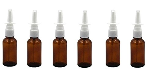 ericotry 30ml 6PCS (1oz) (Quality Improved) 1 Ounce Amber Glass Empty Nasal Sprayers Bottle Snoot Pump Clean ()