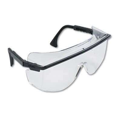 Uvex by Sperian Astro OTG 3001 Safety Glasses with Black Frame and Clear Polycarbonate Ultra-dura Anti-Scratch Hard Coat Lens