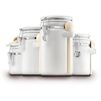 Anchor Hocking 4-Piece Ceramic Canister Set, White Locking Tops