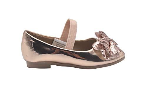 (bebe Toddler Girls Ballet Flats 7 M US Toddler Glitter Bow Mary Jane Ballerina Shoes Blush/Rose Gold)