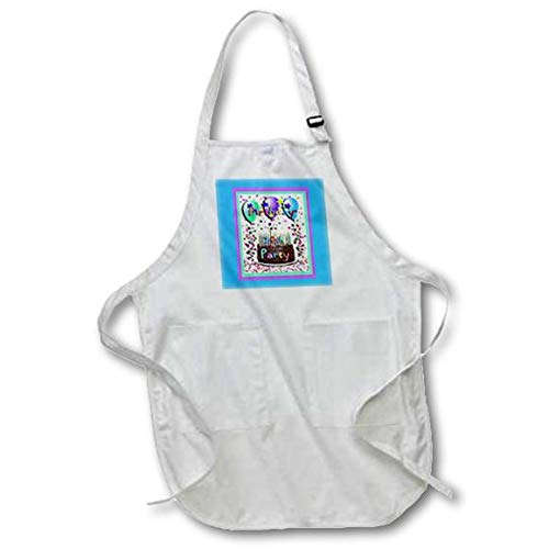 3dRose apr/_20225/_1 Birthday Party Chocolate Cake 30Th Full Length Apron with Pouch Pockets 22 by 30-Inch White with Pockets