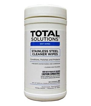 Total Solutions 1549 Stainless Steel Cleaner Wipes, 9.5 inch X 12 inch, 6/Cs ()