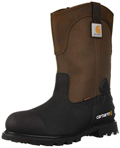 - Carhartt Men's CSA 11-inch Wtrprf Insulated Work Wellington Steel Safety Toe CMR1899 Industrial Boot, Brown/Black lthr, 10 W US