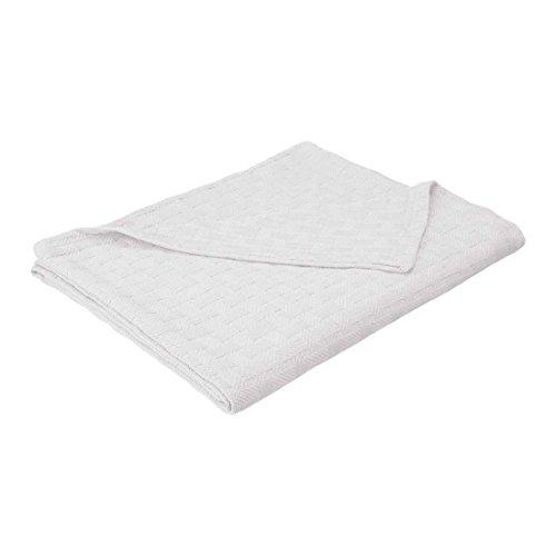 (eLuxurySupply Basket Weave Blanket - 100% Soft Premium Cotton Blanket - Perfect for Layering Any Bed, King, White)