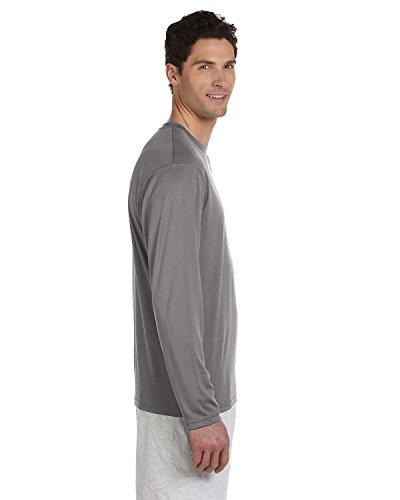 Champion Adult Double Dry Long-Sleeve Interlock T-Shirt, Stone Grey, Large ()