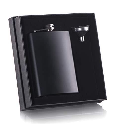 8 oz Black Flask with Stainless Steel Funnel for Liquor Whiskey for Men or Women (Malt Cask Single)