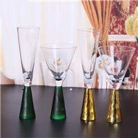 European style simple glass cup Champagne Cup frosted green gold-plated goblet cup set B