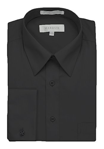Black Long Sleeved Silk Top (Marquis Men's Dress Shirt With French Cuffs and Links, 17-17.5