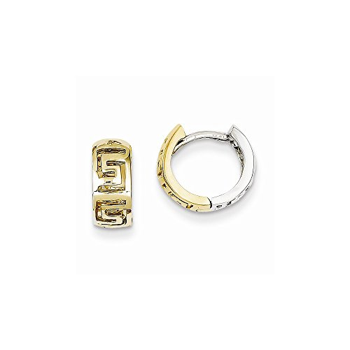 14k Two-tone Greek Key Hinged Hoop ()