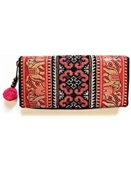 Wallet by WP Embroidery Elephant Zipper Wallet Purse Clutch Bag Handbag Iphone Case Handmade for Women price tips cheap