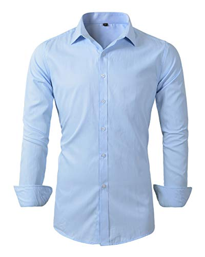 Mens Long Sleeve Slim Fit Dress Shirts (M, 455Light Blue)