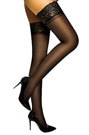 DancMolly Thigh High Stockings Sheer Lace Silicone Stay Up Hosiery Tights Nylon Pantyhose for Women (Black, A/B)