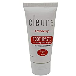 Cleure Hypoallergenic Toothpaste - Cranberry - with Baking Soda & Xylitol | Free of Mint, Gluten, Fluoride, SLS | TSA Approved | 2oz (55g)