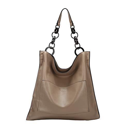 Naiermai Genuine Leather Handbags for Women Large Designer Ladies Shoulder Bag Bucket Style - Leather Apricot Handbag