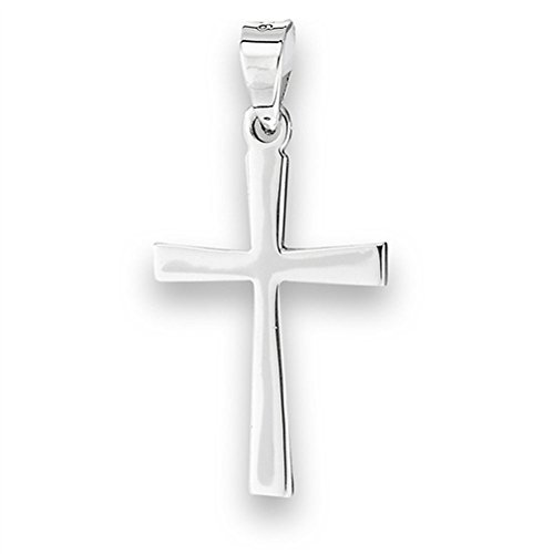 Basic Cross Pendant .925 Sterling Silver High Polish Minimalist Modern Charm - Silver Jewelry Accessories Key Chain Bracelet Necklace Pendants