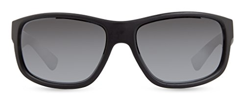 Revo Baseliner RE 1006 01 BL Polarized Wrap Sunglasses, Matte Black/Blue Water, 61 mm
