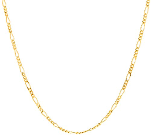 Lifetime Jewelry Figaro Chain 1.5MM, 24K Gold Inlaid Bronze, Premium Fashion Jewelry, Pendant Necklace Made Thin Charms, Guaranteed Life, 16 to 30 Inches (26)