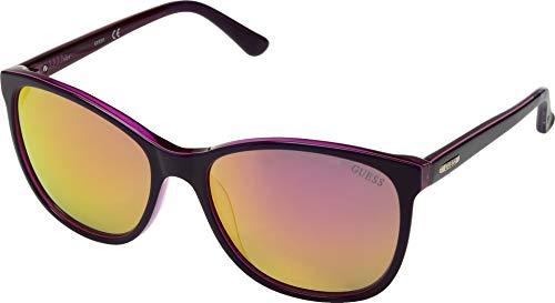 Shiny Violet - GUESS Women's Gu7426 Cateye Sunglasses, shiny violet & mirror violet, 58 mm