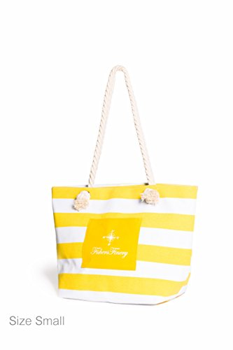 Fishers Finery Heavy Canvas Striped Beach Bag with Rope Handle (Yellow, S)