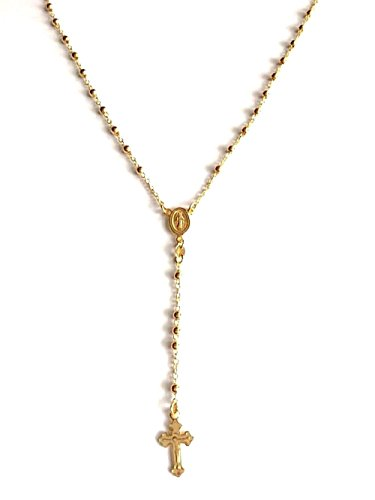 LUXURYGOLD 18k Gold Over Solid 925 Sterling Silver Italian Rosary 30
