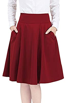 chouyatou Women's Basic Versatile Stretchable A-Lined Pleated Midi Skater Skirt Pockets