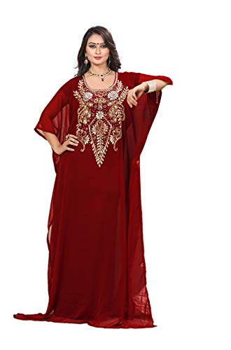 KoC Women's Kaftan Maxi Dress Farasha Caftan KFTN118-Maroon for sale  Delivered anywhere in USA