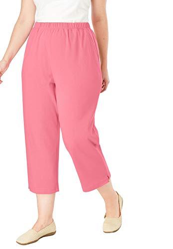 Woman Within Women's Plus Size 7-Day Knit Capri - Rose Mauve, L