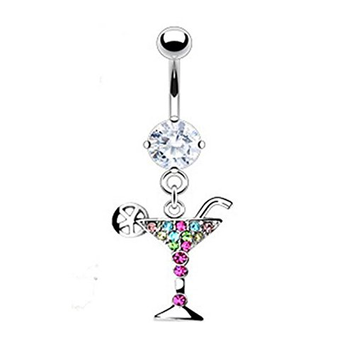 Martini Glass Belly Ring - Martini Glass Dangle Navel 14g Sterling Silver Crystal Bioflex Belly Button Rings for Women Party Beach Club (silver)