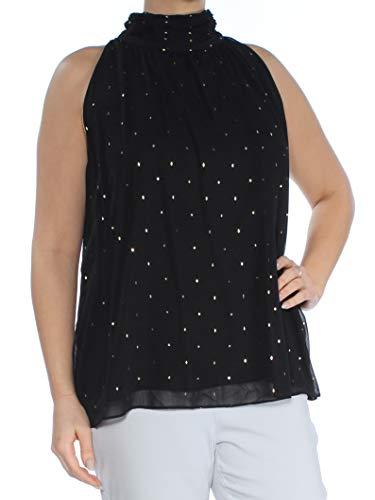 Vince Camuto Womens Sleeveless Gilded Diamonds Mock Neck Halter Blouse Rich Black LG One Size