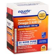 Equate Omega-3 Krill Oil Extra Strength Softgels, 500 Mg, 45 Ct (Pack of 2)