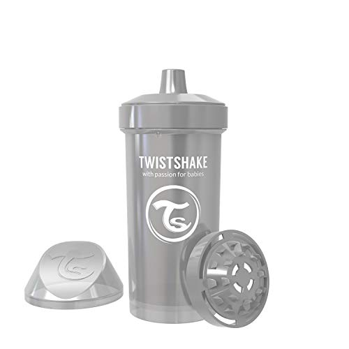 Twistshake Kid Cup 360ml/12oz, Plastic Sippy Cups, Clear Fruit Infuser for 12+m Toddlers (Pearl Grey)