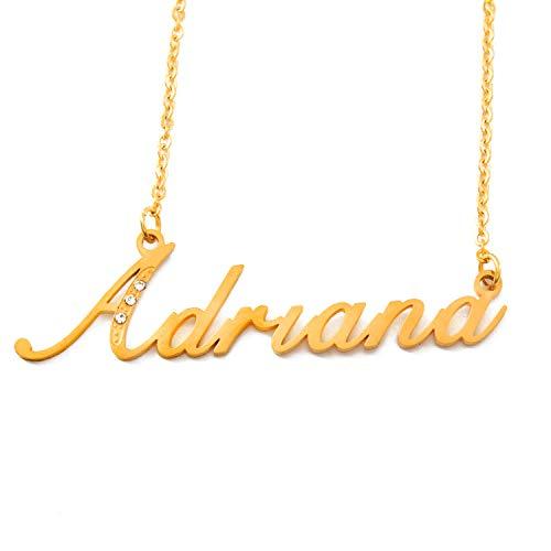 Zacria Italic Name Necklace Adriana - Gold Tone Incl. Crystals