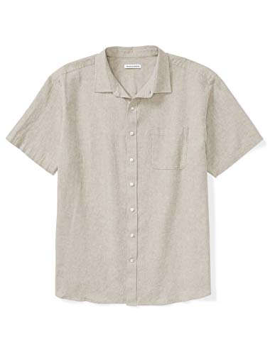 Amazon Essentials Men's Big & Tall Short-Sleeve Linen Cotton Shirt fit by DXL, Natural, 2X Tall ()