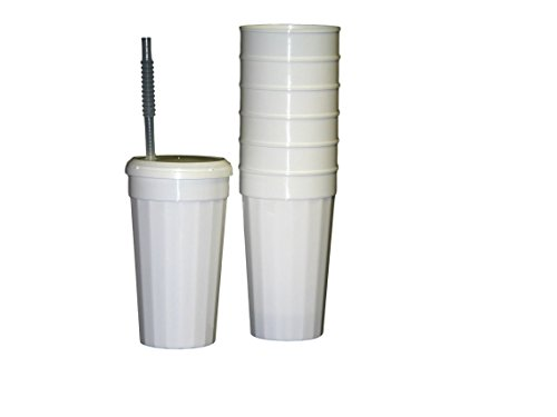 Talisman, 8 Large 32 Ounce Plastic Fluted Tumblers White Lids and Flex Straws.