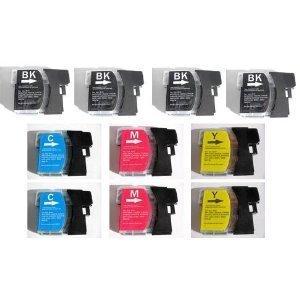 10x Kompatible Drucker Tintenpatronen für Brother MFC-5890CN - 2x Cyan / 2x Gelb / 2x Magenta / 4x Schwarz
