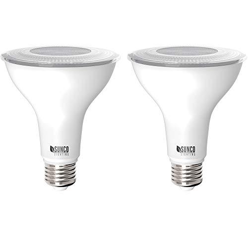 Sunco Lighting 2 Pack PAR30 LED Bulb, Dusk-to-Dawn Photocell Sensor, 11W=75W, 5000K Daylight, 850 LM, Auto On/Off Security Flood Light - UL
