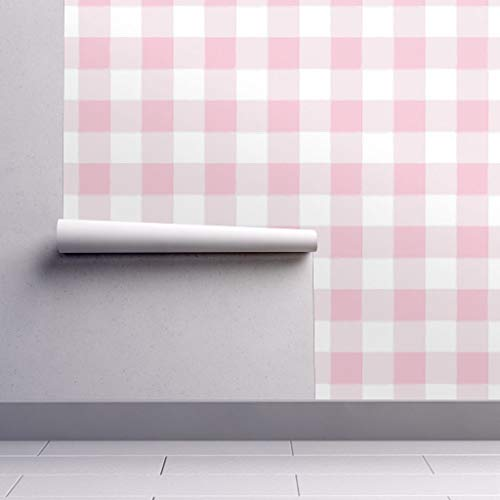 Translucent Checkered Wallpaper Roll - Girls Country Baby Pink Nursery Kids Countryside Cottage Kitchen Breakfast by Sugarfresh - 1 Roll 24in x 27ft ()