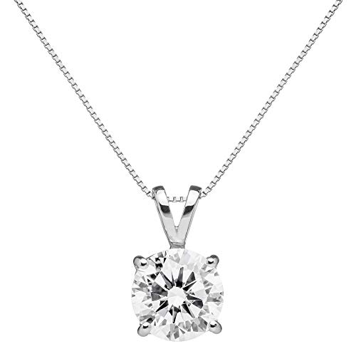 Jewelry Chain White Box (14K Solid White Gold Pendant Necklace | Round Cut Cubic Zirconia Solitaire | 1.5 Carat | 16 Inch .60mm Box Link Chain | With Gift Box)