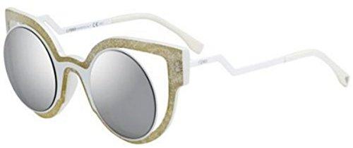 Fendi PARADEYES FF 0137/S NU6/SS Glitter White/ Silver Mirror Sunglasses