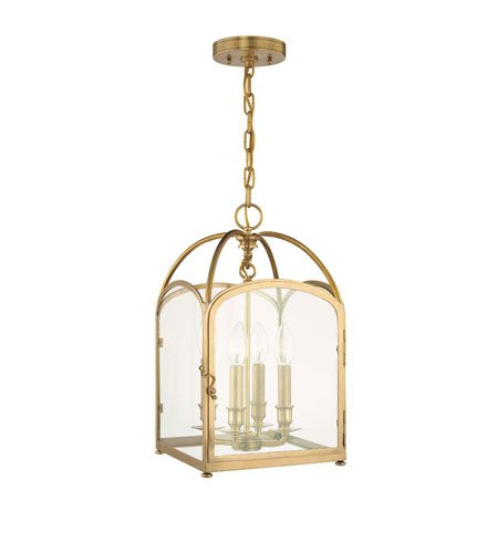 Hudson Valley 6480-AGB, Oxford Square Pendant, 4 Light, 240 Total Watts, Brass