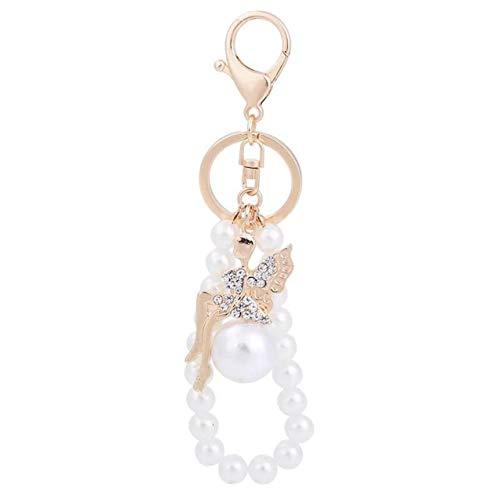 1 Pack Crystal Fairy Angel Pearl Keyrings Lover Pendants Teen Keys Hook Hooks Key Chains Luxurious Popular Pocket Bag Car Keychain