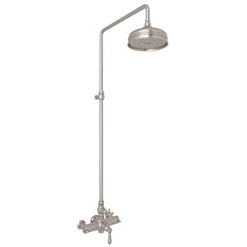 Rohl AKIT49172XMSTN **KIT** ROHL COUNTRY BATH EXPOSED THERMOSTATIC SHOWER PACKAGE WITH CROSS HANDLES IN SATIN NICKEL INCLUDES A4917XM 1565 AND 1037/8 C.B EXPSD THRM KIT2 X-M S.NK